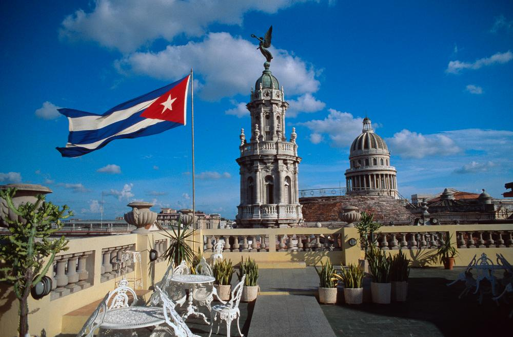 Cuban Flag over capital